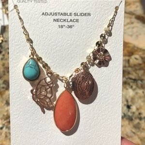 Adjustable slider necklace. 18 to 36 inches. New